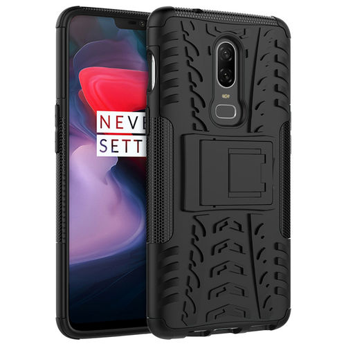 Dual Layer Rugged Tough Shockproof Case for OnePlus 6 - Black